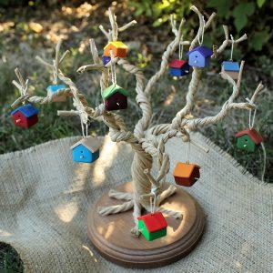 Set of 12 3D Birdhouse Ornaments