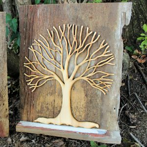 Barn Wood Wall-Hanging Tree with Shelf