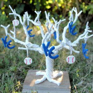 Set of 12 Royals and Baseball Ornaments