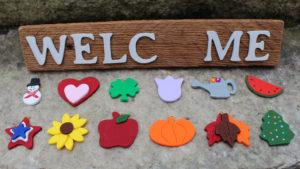 "12 piece ""Welcome"" Seasonal Barn Wood Sign"
