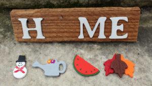 "4 piece ""Home"" Seasonal Barn Wood Sign"