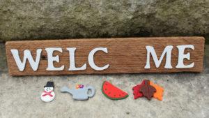 "4 piece ""Welcome"" Seasonal Barn Wood Sign"