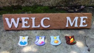 """""""Welcome"""" Seasonal Barn Wood Sign with Owls (4 pieces)"""
